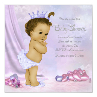 Pink and Purple African American Baby Girl Shower Invitation