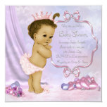 "Pink and Purple African American Baby Girl Shower 5.25"" Square Invitation Card"