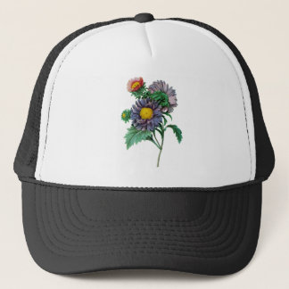 Pink and Purple Asters by Pierre-Joseph Redouté Trucker Hat