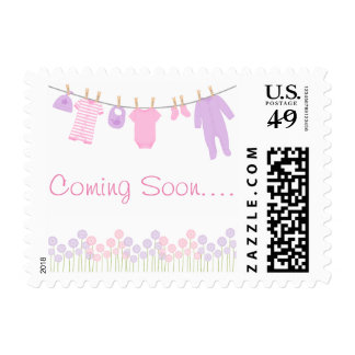 Pink and Purple Baby Clothesline Baby Shower Postage Stamp