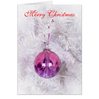 Pink and Purple bauble Christmas card