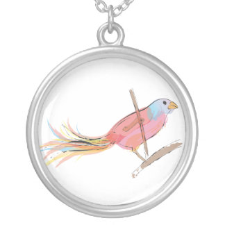 Pink and purple Bird Round Pendant Necklace