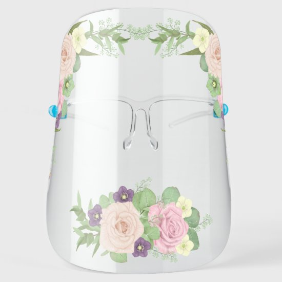 Pink and Purple Boho Watercolor Floral Face Shield
