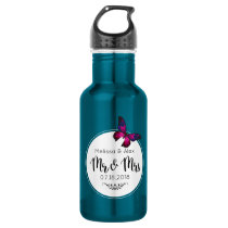 Pink and Purple Buttefly Mr and Mrs Water Bottle