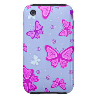 Pink and Purple Butterflies Tough iPhone 3 Cover