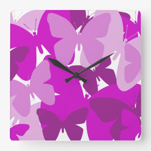 Pink and purple butterflies design, clock