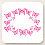 Pink and Purple Butterflies Drink Coaster