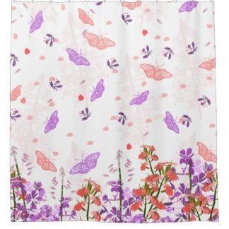 Pink and Purple butterflies shower curtain