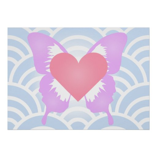 Pink and Purple Butterfly Heart Poster