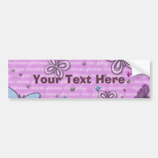 Pink And Purple Butterfly Pattern Bumper Sticker