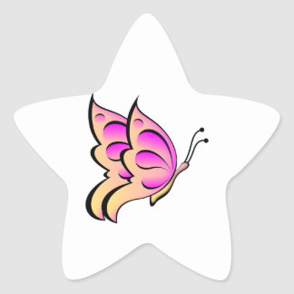 Pink and Purple Butterfly Star Sticker