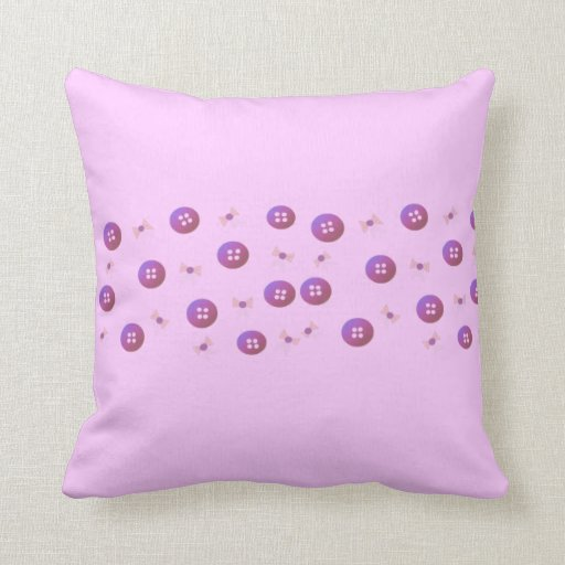 Purple And Pink Decorative Pillows : Pink and Purple Buttons and Bows Throw Pillows Zazzle