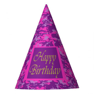 Pink and Purple Camo Birthday Party Hat