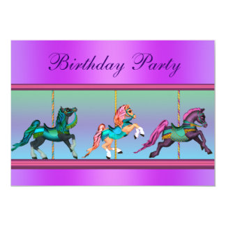 Pink and Purple Carousel Pony Birthday Party Card