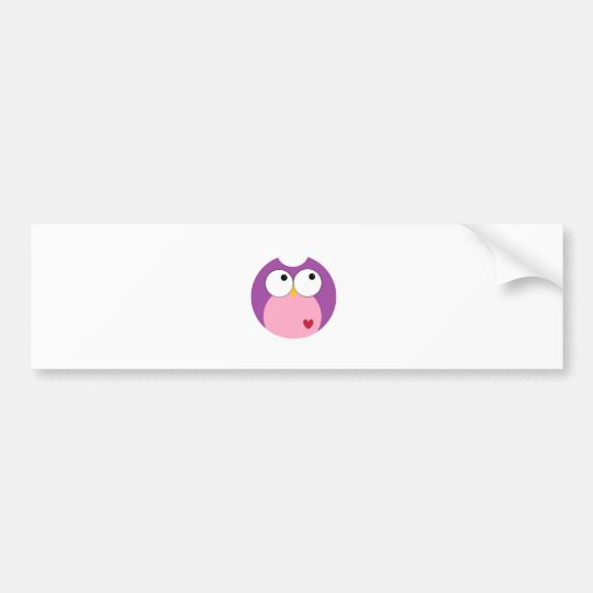 Pink and Purple Cartoon Owl Bumper Sticker