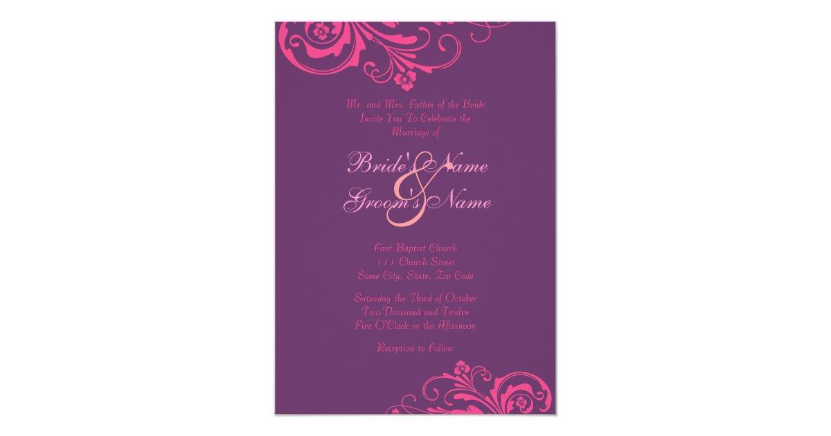 Pink And Purple Chic Wedding Invitation