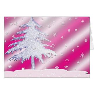 Pink and Purple Christmas Tree Card