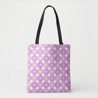 Pink and purple circles pattern tote bag