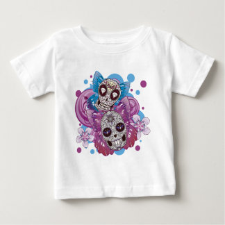 Pink and Purple Circles Sugar Skull Butterflies Baby T-Shirt