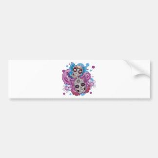Pink and Purple Circles Sugar Skull Butterflies Bumper Sticker