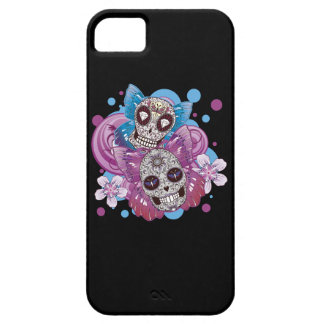Pink and Purple Circles Sugar Skull Butterflies iPhone SE/5/5s Case
