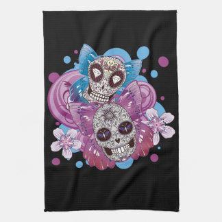 Pink and Purple Circles Sugar Skull Butterflies Kitchen Towel