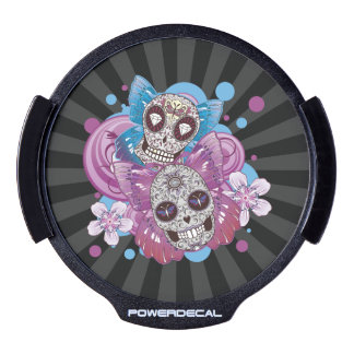 Pink and Purple Circles Sugar Skull Butterflies LED Car Decal