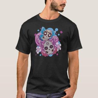 Pink and Purple Circles Sugar Skull Butterflies T-Shirt