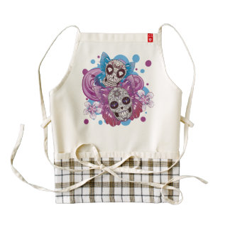 Pink and Purple Circles Sugar Skull Butterflies Zazzle HEART Apron