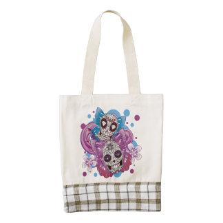 Pink and Purple Circles Sugar Skull Butterflies Zazzle HEART Tote Bag