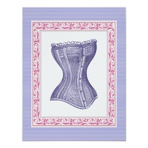Pink and Purple Corset Vintage Bachelorette 4.25x5.5 Paper Invitation Card
