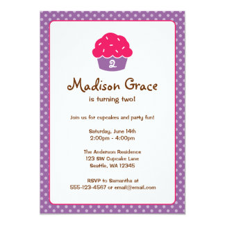 Pink and Purple Cupcake Polka Dot Birthday Party 5x7 Paper Invitation Card