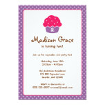 Pink and Purple Cupcake Polka Dot Birthday Party Card