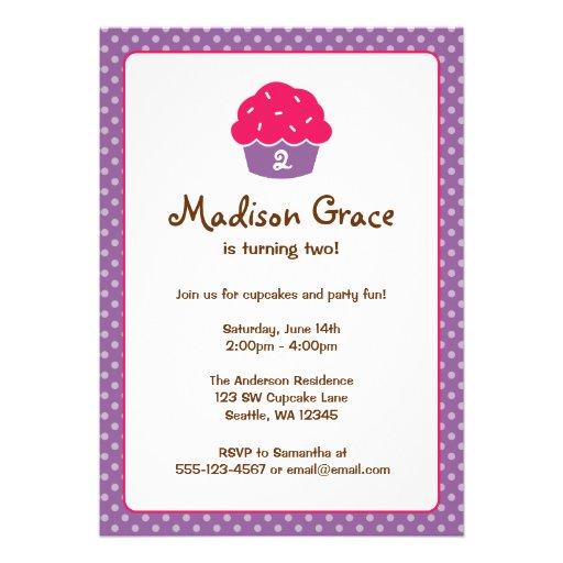 Pink and Purple Cupcake Polka Dot Birthday Party Invitation