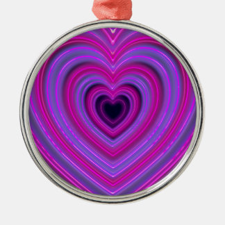 Pink and Purple Cute Girly Neon Hearts Metal Ornament