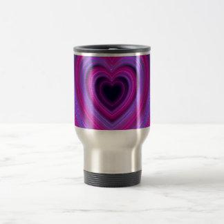 Pink and Purple Cute Girly Neon Hearts Travel Mug