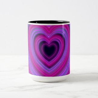 Pink and Purple Cute Girly Neon Hearts Two-Tone Coffee Mug