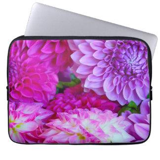 Pink and purple dahlia flowers laptop sleeve