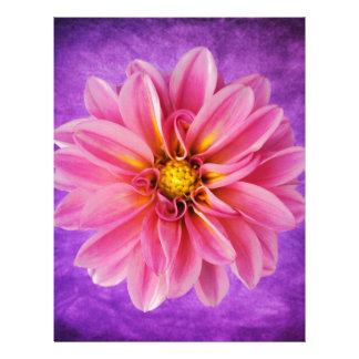 pink and purple dahlia on hand painted background letterhead template