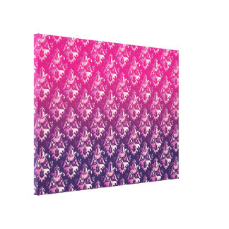 Pink and Purple Damask Pattern Stretched Canvas Prints