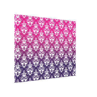 Pink and Purple Damask Pattern Stretched Canvas Print