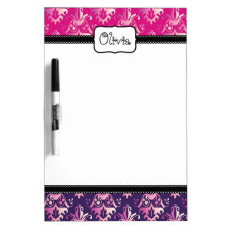 Pink and Purple Damask Pattern Dry-Erase Board