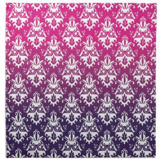 Pink and Purple Damask Pattern Cloth Napkins