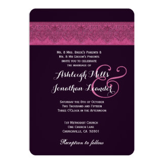 Pink and Purple Damask Wedding Template V04 Personalized Invite