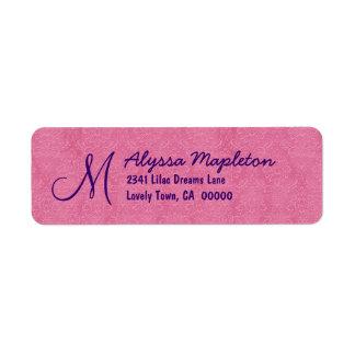 Pink and Purple Damask  Wedding V673 Return Address Label
