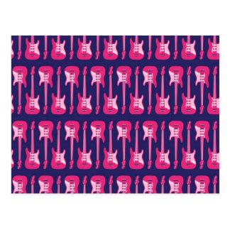 Pink and Purple Electric Guitars Punk Rock Postcard