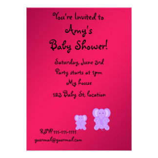 Pink and purple elephant baby shower invitation