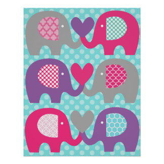 Pink and Purple Elephant Love Nursery Poster