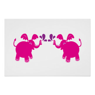 Pink and Purple Elephant Poster