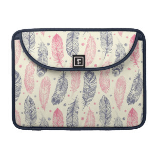 Pink And Purple Ethnic Feather Pattern Sleeves For MacBook Pro